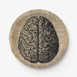 Human Brain Vintage Illustration Dictionary Art Paper Plate