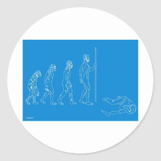 HUMAN DEVOLUTION CLASSIC ROUND STICKER
