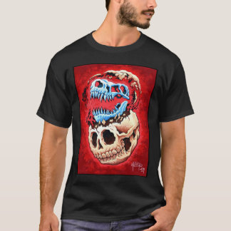 human & dinosaur on black T-Shirt
