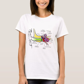 Human Ear Diagram with Cochlear Frequency Mapping T-Shirt