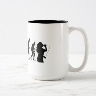 Human Evolution Ends with Singers Two-Tone Coffee Mug