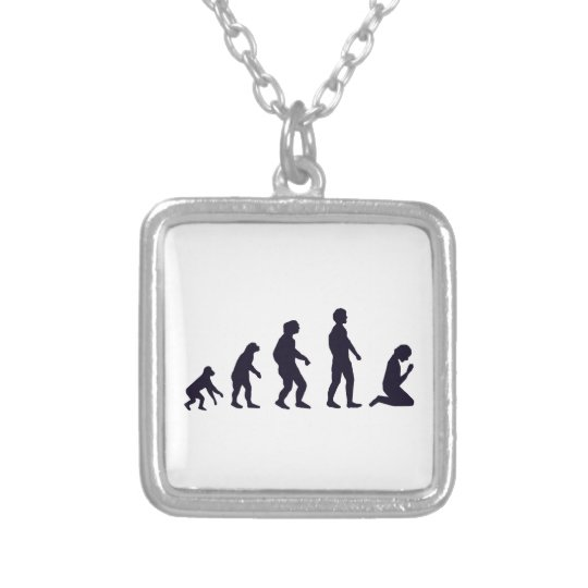 HUMAN EVOLUTION, figures, gifts Silver Plated Necklace