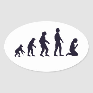 HUMAN EVOLUTION figures gifts Oval Sticker