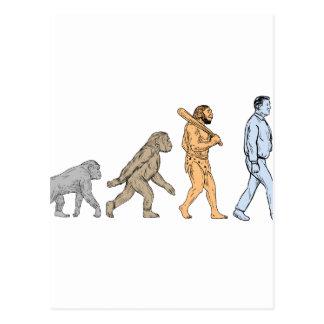 Human Evolution Walking Drawing Postcard