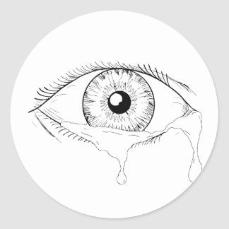 Human Eye Crying Tears Flowing Drawing Classic Round Sticker