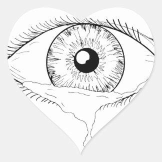 Human Eye Crying Tears Flowing Drawing Heart Sticker