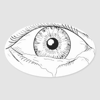 Human Eye Crying Tears Flowing Drawing Oval Sticker