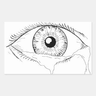 Human Eye Crying Tears Flowing Drawing Rectangular Sticker