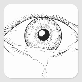 Human Eye Crying Tears Flowing Drawing Square Sticker