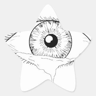Human Eye Crying Tears Flowing Drawing Star Sticker
