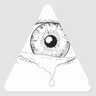 Human Eye Crying Tears Flowing Drawing Triangle Sticker