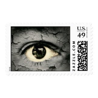 Human eye serrounded by Peeling skin Postage
