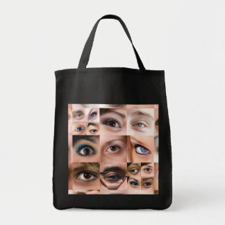 Human Eyes Montage Grocery Tote Bag