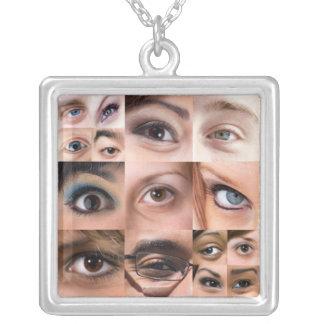 Human Eyes Montage Square Pendant Necklace