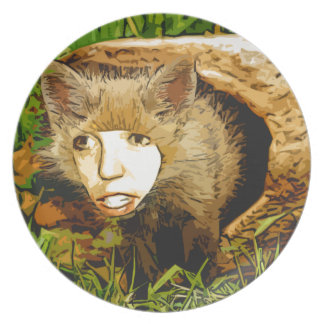 human face fox party plates