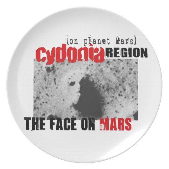 Human Face on Planet Mars Dinner Plate