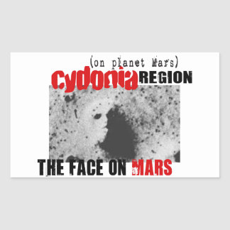 Human Face on Planet Mars Rectangular Sticker