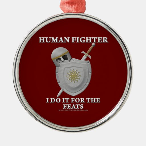 Human Fighter: For the Feats Metal Ornament