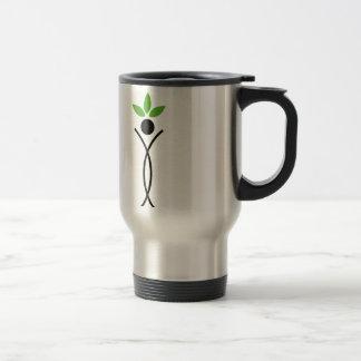 Human figure with green leaves mug