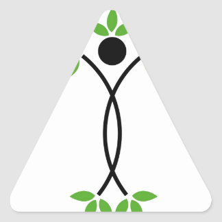 Human figure with green leaves triangle sticker