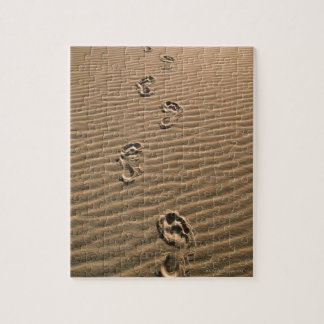 Human footprints on sandy beach jigsaw puzzle