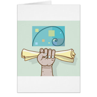 Human hand holds a paper roll secret article card