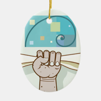 Human hand holds a paper roll secret article ceramic ornament
