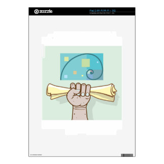 Human hand holds a paper roll secret article decals for iPad 2