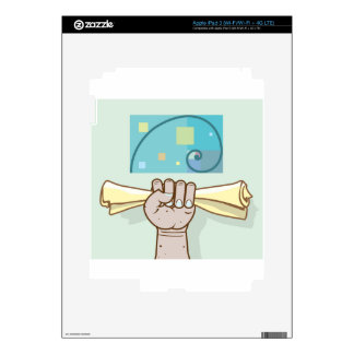 Human hand holds a paper roll secret article iPad 3 skins