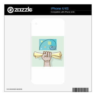 Human hand holds a paper roll secret article iPhone 4S decal