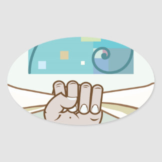 Human hand holds a paper roll secret article oval sticker