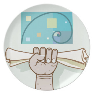 Human hand holds a paper roll secret article plate