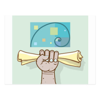 Human hand holds a paper roll secret article postcard