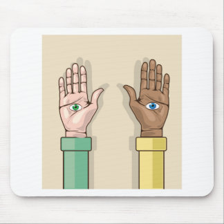 Human hands with eyes Vector Mouse Pad