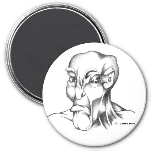 Human Head: Grumpy - WB Fridge Magnet