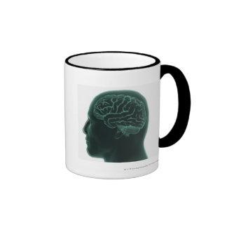 Human head in profile showing the brain coffee mugs