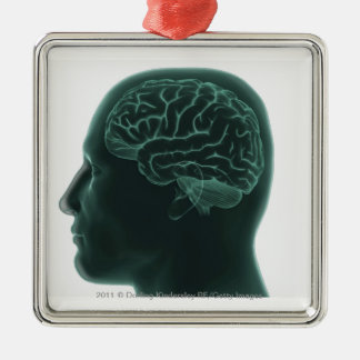 Human head in profile showing the brain square metal christmas ornament