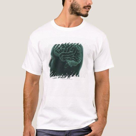 Human head in profile showing the brain T-Shirt