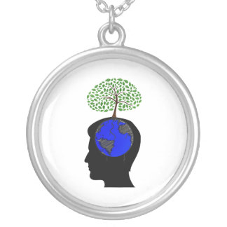 human head side blue globe brain tree growing.png silver plated necklace