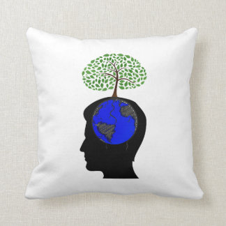 human head side blue globe brain tree growing.png throw pillow