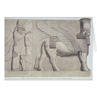 Human-headed Bull and winged figure from a gateway Card