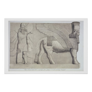 Human-headed Bull and winged figure from a gateway Poster