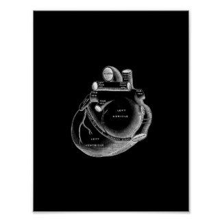Human Heart Anatomy in Black and White Print