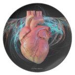 Human heart, computer artwork. dinner plate