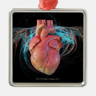 Human heart, computer artwork. square metal christmas ornament