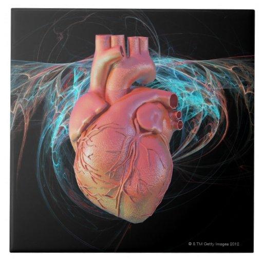 Human heart, computer artwork. tile