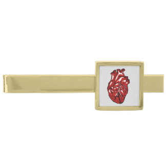 Human Heart Gold Finish Tie Clip