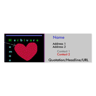Human Herbivore Heart Double-Sided Mini Business Cards (Pack Of 20)