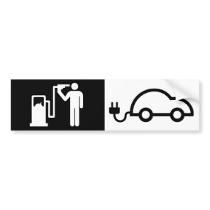 Human Icon Harikari Gas Pump Electric Green Car Bumper Sticker