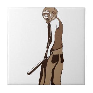 human monkey with stick ceramic tile